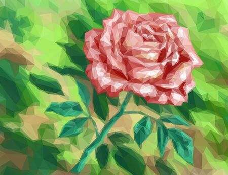 red rose: Red Flower Rose on Green Background, Low Poly Pattern. Vector