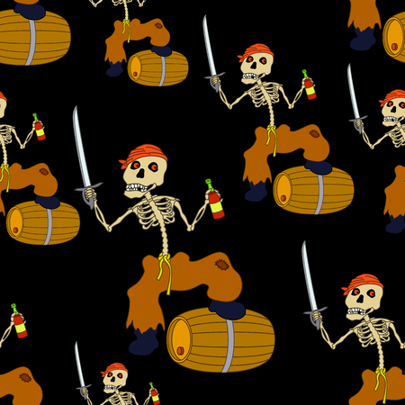 Seamless Wallpaper, Cartoon Evil Zombie Pirate Jolly Roger Skeleton with a Sword, Bottle of Wine and Barrel on Black Tile Background Vector