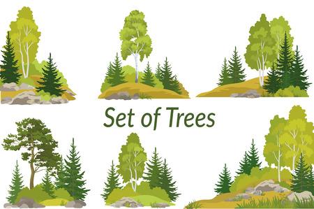 Set summer and autumn landscapes. Stock Illustratie