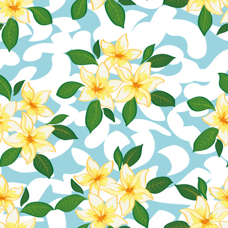 Seamless Floral Pattern, Plumeria Yellow Flowers and Green Leaves on Abstract Tile Background. Vector