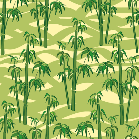 Seamless Floral Pattern, Exotic Landscape, Green Bamboo Plants on Abstract Tile Background. Vector