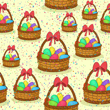 Seamless Pattern, Basket with Colorful Painted Chicken Eggs and Red Bow on the Handle. Easter Holiday Tile Background. Vector Ilustração