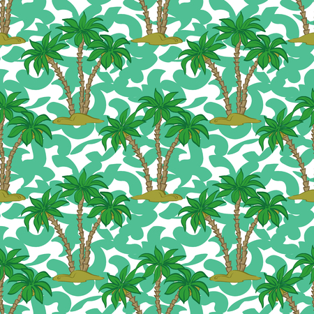 Seamless Pattern, Exotic Landscape, Tropical Palm Trees and Tile Green and White Background. Vector Ilustração