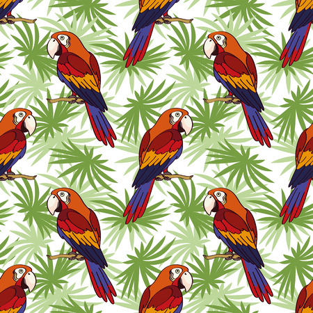 Pattern, tropical landscape, colorful parrots on green leaves exotic plants. Ilustração