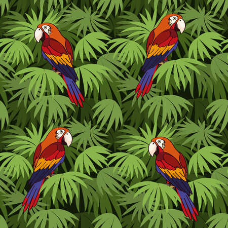 Colorful Parrots on Green Leaves Exotic Plants Pattern. Ilustração