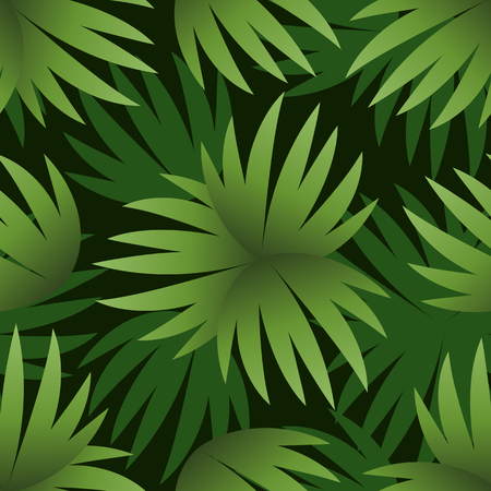Seamless Floral Pattern, Green Leaves Exotic Plants and Silhouettes on Black Tile Background. Vector