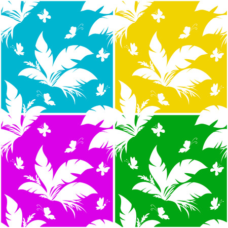 Set Seamless Floral Patterns, Exotic Plant and Butterfly White Silhouettes on Colorful Tile Background. Vector