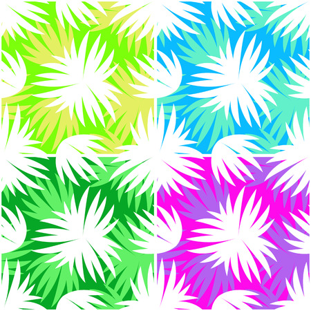 Set Seamless Floral Patterns, Exotic Plants Leaves White Silhouettes on Colorful Tile Backgrounds. Vector