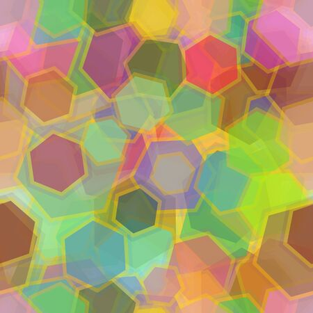 Seamless Background, Abstract Tile Pattern, Colorful Geometrical Figures Hexagons. Eps10, Contains Transparencies. Vector Illustration