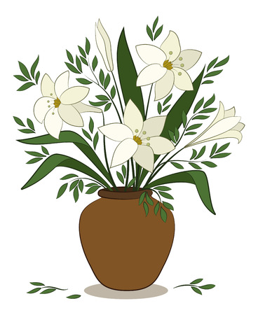 Bouquet of Beige Lilies Flowers and Green Leaves in a Brown Clay Vase Isolated on White Background. Vector Illustration