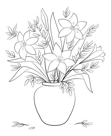 白い背景に孤立した黒い輪郭の中のユリの花と葉の花束。ベクトル