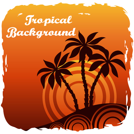 Exotic Landscape, Tropical Palm Trees Silhouettes and Sun - Rings on Orange Background. Vector Ilustração