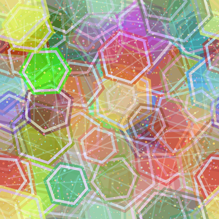 Seamless Background, Abstract Tile Pattern, Colorful Geometrical Figures Hexagons, Lines and Circles. Eps10, Contains Transparencies. Vector