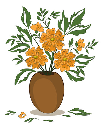 Bouquet of Orange Flowers and Green Leaves in a Brown Clay Vase Isolated on White Background. Vector