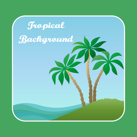 Exotic Landscape, Tropical Island with Green Palm Trees, Sky and Blue Sea with Waves. Vector