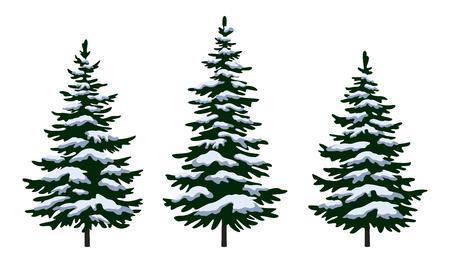 Stellen Sie grüne Tannenbäume mit weißem und blauem Schnee, Winterurlaub-Weihnachtsdekoration ein, die auf weißem Hintergrund lokalisiert wird. Vektor Vektorgrafik