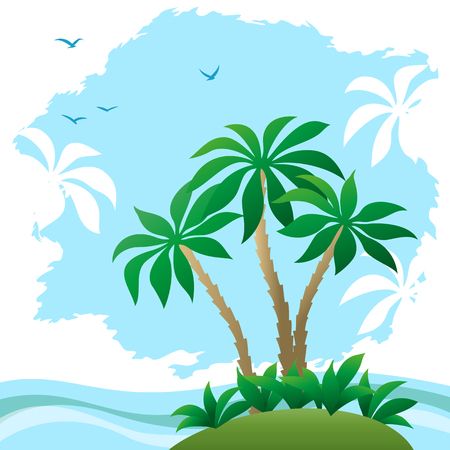 Exotic Landscape, Sea with Waves, Tropical Island, Beach with Palm Trees, Green Grass and Clouds Palms Silhouettes and Birds on Blue Sky. Vector Ilustração