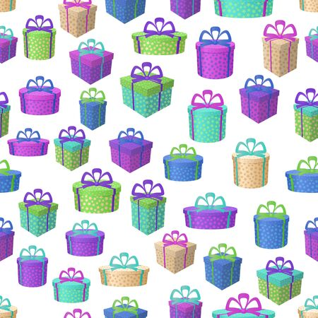 Holiday Seamless Pattern, Festive Colorful Gift Boxes Isolated on Tile White Background. Vector Ilustração