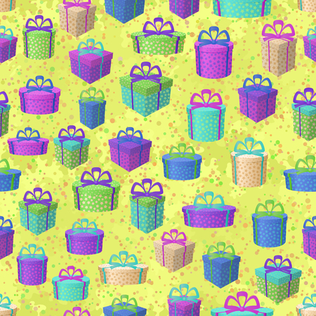 Holiday Seamless Pattern, Festive Colorful Gift Boxes on Abstract Tile Background. Vector Ilustração