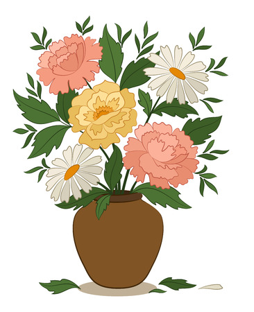 Bouquet Peonies and Chamomile Flowers and Green Leaves in a Brown Clay Vase Isolated on White Background. Vector Banco de Imagens