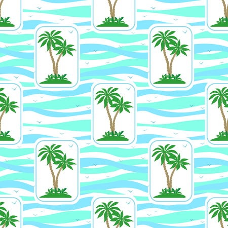 Pattern of exotic landscape, green tropical palm trees and grass in rectangles and tile blue.