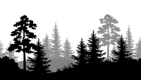 白い背景に松、モミの木、草とブッシュの黒と灰色のシルエットとシームレスな水平夏の森。ベクトル