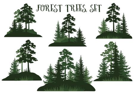 Stel landschappen, geïsoleerd op witte achtergrond Groene silhouetten naald- en loofbomen en gras. Vector.