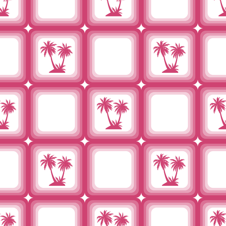 Seamless Pattern, Exotic Landscape, Red Tropical Palm Trees in Pink Squares on Tile White Background. Vector Ilustração