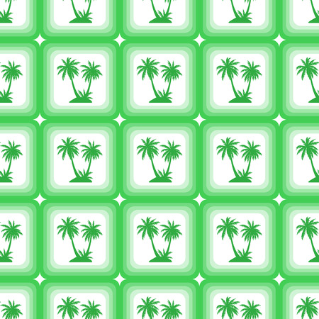 Seamless Pattern, Exotic Landscape, Green Tropical Palm Trees in Squares on Tile White Background.