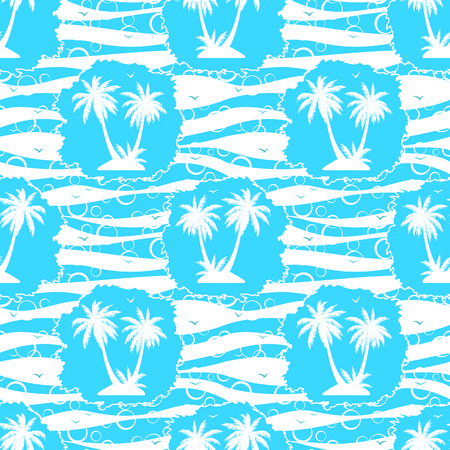 Seamless pattern, exotic landscape, tropical palm trees and grass silhouettes, tile blue and white background with sea birds gulls. Vector illustration.