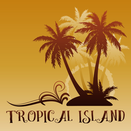 Exotic background, Tropical landscape, palm trees brown silhouettes. Vector illustration. Ilustração