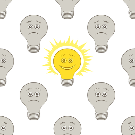 Cartoon light electric bulbs, glowing and dark, smiling and sad isolated on tile white background vector seamless pattern.