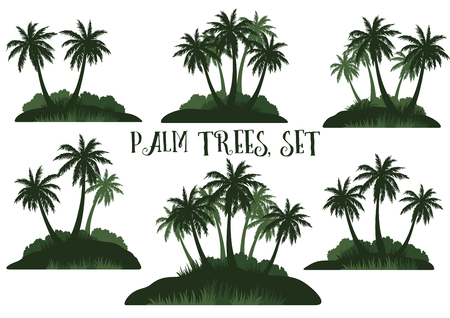 Set Exotic Landscapes, Tropical Palm Trees, Bushes and Grass Green Silhouettes Isolated on White Background. Vector