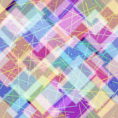 Abstract Tile Pattern of Colorful Geometrical Figures and Lines.