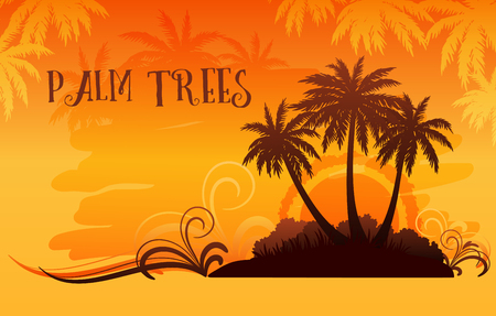 Exotic Tropical Landscape, Palm Trees Silhouettes Against the Background of the Orange Morning or Evening Sky, Sunrise or Sunset. Vector