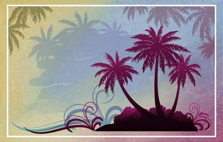 Exotic Background, Tropical Landscape, Palm Trees Silhouettes