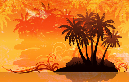 Exotic Tropical Landscape, Palm Trees Silhouettes Against the Background of the Orange Morning or Evening Sky, Sunrise or Sunset