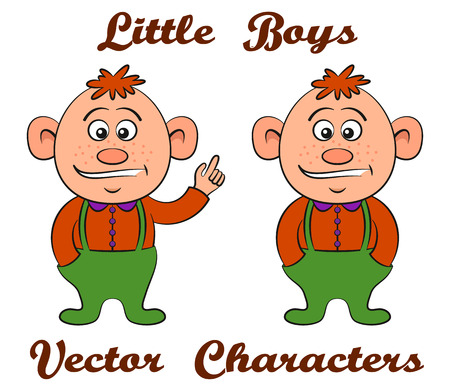 Little Baby Boy with Red Hair, Cartoon Character in Two Versions, with Hands in Pockets and with Pointing Finger, Isolated on White Background. Vector