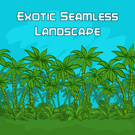 Seamless Horizontal Background, Exotic Landscape, Tropical Palm Trees, Plants and Blue Sky. Vector