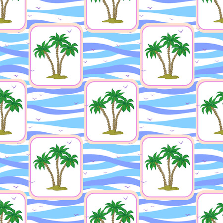 Seamless Pattern, Exotic Landscape, Isolated Green Tropical Palm Trees and Birds Gulls in Rectangles on Tile White and Blue Ocean Wave Background. Vector