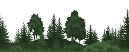 Seamless Horizontal Summer Forest with Trees, Grass and Bushes Green Silhouettes on White Background. Vector
