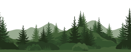 Seamless Horizontal Landscape, Summer Mountain Forest with Fir Trees, Bushes and Grass Green Silhouettes on White Background. Vector Ilustração