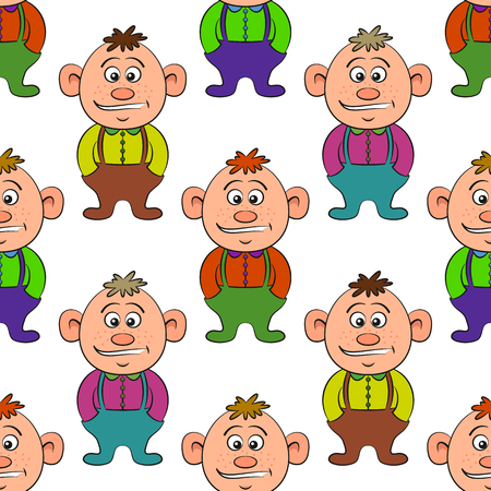 Seamless Pattern, Baby Boy, Cartoon Character Isolated on Tile White Background. Vector