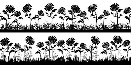 Motifs horizontaux sans soudure, paysages d'été ou de printemps, isolés sur fond blanc, fleurs et silhouettes noires d'herbe. Vecteur