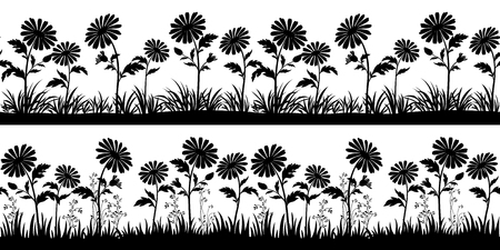 Poziome bezszwowe wzory, letnie lub wiosenne krajobrazy, na białym tle na białym tle kwiaty i czarne sylwetki trawy. Wektor