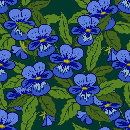 Seamless Background, Flowers Pansies, Viola, Green Leaves and Blue Petals, Tile Pattern. Vector
