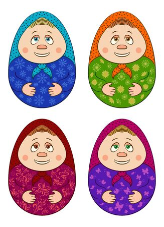 Set Easter Eggs, Holiday Symbol in the Form of Cartoon Nesting Dolls Matrioshka, Russian Traditional National Wooden Dolls Isolated on White Background. Vector