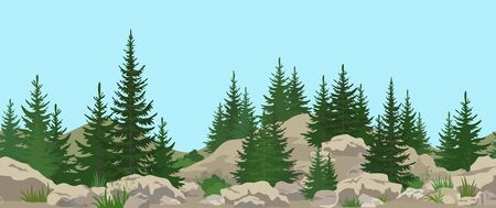 Seamless Horizontal Summer Mountain Landscape with Fir Trees, Green Grass, Stone Rocks and Blue Sky. Vector