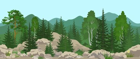 Seamless Horizontal Summer Mountain Landscape with Pine, Birch and Fir Trees, Green Grass and Yellow Flowers on the Stone Rocks. Vector Ilustração