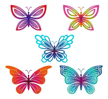 Set Symbolical Exotic Butterflies, Colorful Pictograms Isolated on White Background. Vector